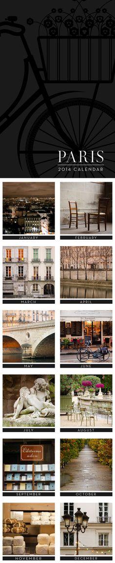 2014 Paris Calendar, Paris Photography by Nichole Robertson