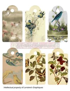 Antique Bird and Butterfly Gift Tags