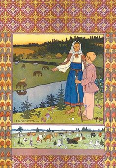 Ivan Yakovlevich Bilibin (1876 - 1942) was a Russian 20th-century illustrator. He was strongly inspired by Slavic folklore and worked a lot in theater with set