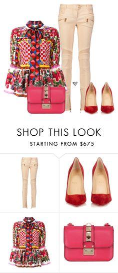 """Bez naslova #3920"" by lillyrosalie on Polyvore featuring moda, Balmain, Christian Louboutin, Dolce&Gabbana i Valentino"