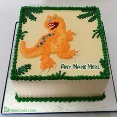 Dinosaur Birthday Cake For Kids With Name Editing Funny Birthday Cakes, Dinosaur Birthday Cakes, Birthday Cake Pictures, Birthday Wishes, Cool Names, Kid Names, Name Maker, Cake Templates, Cake Name