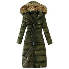 Womens Slim Fur Collar Zipper Hooded Pockets Lengthen Down Coat Green ($103) ❤ liked on Polyvore featuring outerwear, coats, green, green coat, fur collar coat, zipper coat, slim coat and hooded coats