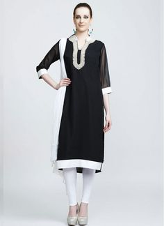 4ed7e048f4 Georgette Lace Black and White Churidar Salwar Suit White Churidar