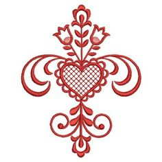 Sweet Heirloom Embroidery Design: Redwork Heart Deco inches H x inches W Folk Embroidery, Machine Embroidery Designs, Embroidery Stitches, Valentines Day Hearts, Valentine Heart, Clay Projects, Coloring Pages, Diy And Crafts, Art Prints