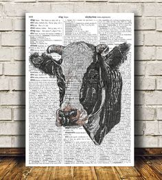 Amazing Cow print. Gorgeous Animal decor for your home and office. Adorable Farm animal poster. Pretty modern Dictionary print.  SIZES: A4 (8.3 x