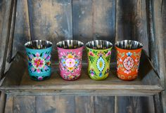 Hand Painted Metal Tumbler, Set of 4 is perfect for picnics, holding flowers and pens or brightening up your dinner table!