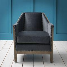 Hoxton Armchair in Grey Velvet