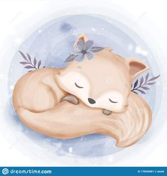 Foxy Baby Sleep Hugging Tail Stock Vector - Illustration of cute, colorful: 176940881 Baby Animal Drawings, Cute Drawings, Cartoon Mignon, Lapin Art, Baby Animals, Cute Animals, Illustration Mignonne, Baby Elefant, Art Mignon