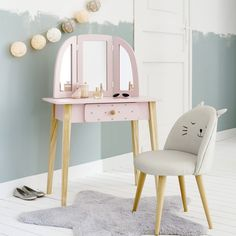 Girls furniture, decor and soft furnishings Kids Dressing Table, Childrens Dressing Table, Cat Bedroom, Room Decor Bedroom, Childrens Vanity Table, Girls Furniture, Furniture Decor, Patterned Chair, Soft Furnishings