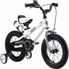 RoyalBaby BMX Freestyle Kids Bike, Boy's Bikes and Girl's Bikes with training wheels, Gifts for children, 12 inch wheels, White