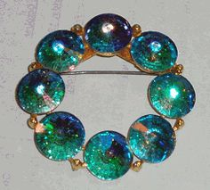 Vintage Circle Pin Brooch Domed AB Round Crystals Signed WEISS Green/Blue   eBay