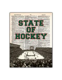 Minnesota Wild Dictionary Print -  Stadium Series Minnesota Wild Hockey, Stadium Series, Mixed Media Art, Art Prints, Etsy, Amazing, Art Impressions, Mixed Media