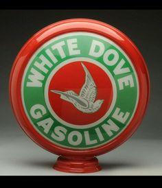 Rare White Dove Gas Globe