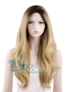 """18""""-28"""" Long Curly Brown Mixed Blonde Lace Front Wig Heat Resistant"""