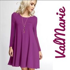 """❗️LAST MEDIUM❗️ Orchid Long Sleeve Swing Dress MADE IN USA Comfy, casual, and easy to layer swing dress made in a stretchy rayon/spandex jersey in the USA! Have in S (2-4) M(6-8) L(10-12) price is firm unless bundled.   Pair up w/ vests, sweaters, coats, leggings, boots or heels!  A great dress to transition from day to night!  Approximate Measurements: S: Length 32"""", Bust 34"""" to 38"""" M: Length 32.5"""", Bust 36"""" to 40"""" L: Length 33"""", Bust 38"""" to 42""""   You may purchase this listing as I've…"""