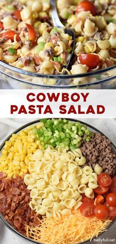 Bacon ground beef cheese and hot sauce make this Cowboy Pasta Salad a definite crowd pleaser! Perfect for summer get togethers game day or any time! Shrimp Salad Recipes, Spinach Salad Recipes, Pasta Recipes, Dinner Recipes, Cooking Recipes, Healthy Recipes, Recipe For Pasta Salad, Side Salad Recipes, Cooking Pasta