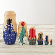 Stack and uncover friendly marine creatures with our Oceanic Nesting Dolls. This set of six dolls features sea life animals, like a whale, dolphin and octopus, and was designed exclusively for us by Dinara Mirtalipova.