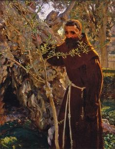 John Singer Sargent, Franciscan Monk in the Garden of Gethsemane 1905 - 06 on ArtStack #john-singer-sargent #art
