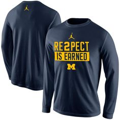 Wolverines NCAA Nike Jordan 'RE2PECT is Earned' Long Sleeve Shirt