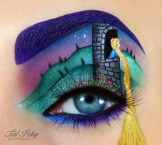 Tal Peleg's Eye Art Recreates Your Favorite Movies and Fairy Tales Rapunzel. Israeli makeup artist Tal Peleg recreates scenes from popular fairy tales and movies with amazing detail. Disney Eye Makeup, Eye Makeup Art, Eye Art, Makeup Drawing, Drawing Art, Makeup Eyeshadow, Makeup Cosmetics, Make Up Art, Eye Make Up
