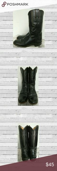 🍁👢 Kid's Justin Black Boots Cute Kids Unisex  Black Leather Justin Boots. Great Condition Size 4 1/2 B Color Black  🍁 Accepting Reasonable Offer's  Have any questions feel free to ask before puchasing. Ship's Same/Next Day Mon-Fri No Trades Justin Boots Shoes Boots