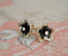 Silver Flower Stud Earring Post Earring by BelleBohemeJewelry