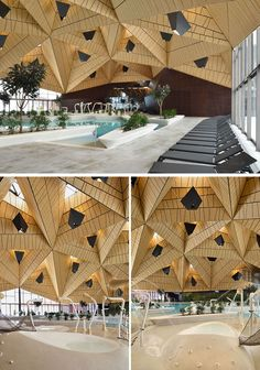 Inside this modern wellness complex, tetrahedral shapes used for the ceiling / roof allowed the entire pool space to be covered virtually without supports. Creative Architecture, Architecture Design, Indoor Garden, Indoor Outdoor, Wellness Center, Concrete Jungle, Modern Buildings, Vintage Design, Building Materials