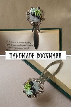 Metal bookmark with stones and succulents is a perfect gift for nature lover, book lover, gardener, biologist, teacher, student, mom, grandma etc.Plant is made of air dry polymer clay completely by hand. #polymerclay #giftforher #giftforhim #bookmark