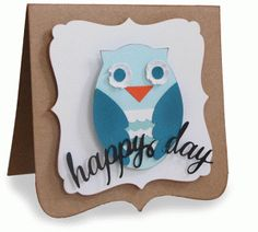 Silhouette Design Store - View Design #79984: owl happy day folded card