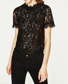 c8d7a90dd0a89 Image 3 of EMBROIDERED LACE T-SHIRT from Zara Zara Lace Top