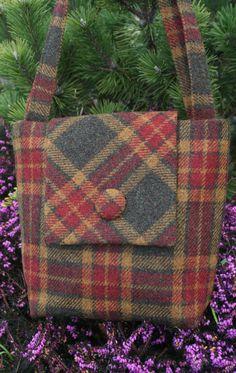 Scottish Harris Tweed Tote Bag in Olive Gold & Red by TweedieBags