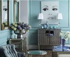 Glamorous/contemporary living roomwith pastel blue walls and stunning furnishings! via Charles Cameron: www.charlescameron.fr More Great Looks Like This