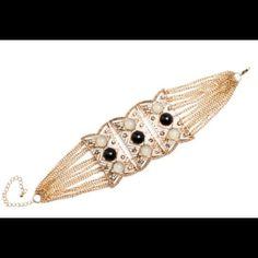 Gold Tone Filigree & Bead Station Bracelet