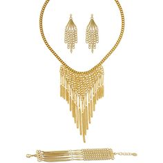 BERRICLE Gold-Tone Fashion Statement Necklace Earrings and Bracelet... ($85) ❤ liked on Polyvore featuring jewelry, earrings, bracelets, earrings and necklace set, sets, women's accessories, chain earrings, earring necklace set, brass jewelry and gold tone earrings