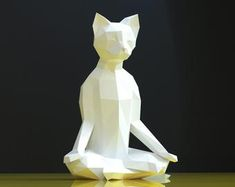 3d Paper Crafts, Paper Toys, Diy And Crafts, Origami Wall Art, Yoga Cat, Paper Animals, Cat Statue, Cat Party, Pattern Drawing