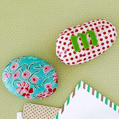 Use fabric scraps to cover a stone from the backyard. Mom will love to display it on her desk as a paperweight.