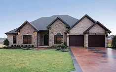 This impressive Ranch style home with European details (Plan has 2525 square feet of living space. The floor plan includes 4 bedrooms. One Level House Plans, Simple House Plans, House Plans One Story, Story House, Stone Exterior Houses, Stone Home Exteriors, Country Style House Plans, Modern Farmhouse Exterior, Ranch Style Homes