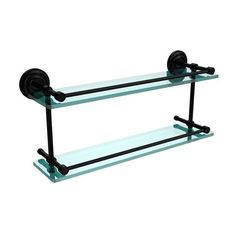 Que New 22 Inch Double Glass Shelf with Gallery Rail, Matte Black - (In No Image Available)