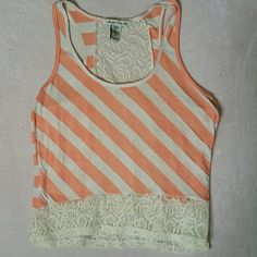 Lace back tank top Beautiful lace back tank top coral color and cream stripes xl fits on the smaller side American Rag Tops Tank Tops