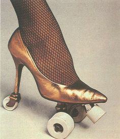 high heeled roller skates. How fun are those!! I don't know that I could actually skate in those, but I would sure try!