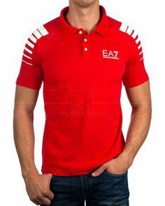 Polo Emporio Armani Tennis Classic M Polo 1 - Rojo Gents T Shirts, Boys T Shirts, Sports Shirts, Tee Shirts, Camisa Polo, Emporio Armani, Polo Shirt Design, Ralph Lauren Style, Surf Wear