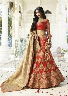 Price @14490.00 INR Colour : Orange Top : Silk Lehenga : Row Silk Dupatta : Net Work : Heavy Embroidery