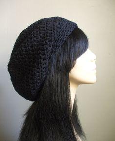 COTTON Cute Crochet Summer Hat Crochet Women Slouchy Beret Tam Hat BLACK Super Cute aWeSomE  Style