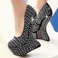 Women Retro Unique High Heels Carved Klomps Shoes Wooden Wedge ...