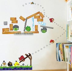 ANGRY BIRDS Reusable Wall Stickers Kids/Nursery/Boys/Children Room Decals