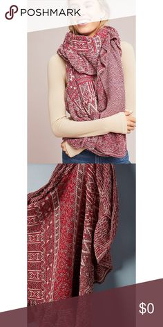 """ANTHROPOLOGIE Cecilia Prado Susie Ruffled Scarf BNWT ANTHROPOLOGIE Cecilia Prado Susie Ruffled Metallic Scarf  Style No. 44663748 ; Color Code: RED MOTIF With each striking silhouette, Cecilia Prado embraces femininity and texture through her unique approach to design. Using bold, statement fabrics in an array of flattering patterns, each garment infuses a contemporary design with traditional elements for a timeless look. Acrylic Hand wash Brazil Dimensions 80""""L, 35""""W ALL OF MY ITEMS FROM…"""