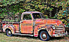 """""""Antique Chevy Truck Crossing The Color Line"""" by Eric Jenkins, Westbrook Maine // A blend of a rustic past with hi tech present. This old Chevrolet truck's aged appearence made for a great photo to add the enhancement of bending the clarity. The eye catching design will draw viewers in with the truck's multi colors and the abstract... // Imagekind.com -- Buy stunning, museum-quality fine art prints, framed prints, and canvas prints directly from independent working artists and photographers."""