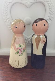 Wooden peg doll bride and groom wedding cake toppers