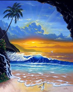 creation jim warren - Page 6 Fantasy Kunst, Fantasy Art, Seascape Paintings, Watercolor Paintings, Landscape Art, Landscape Paintings, Surfboard Painting, Tropical Art, Surf Art