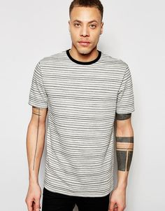 Image 1 ofRiver Island Crew Neck T-Shirt With Jacquard Stripes